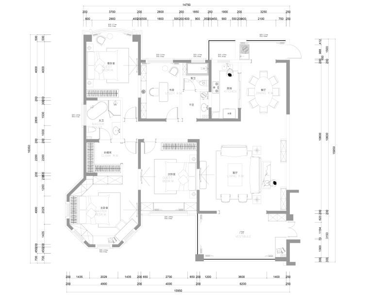 张家港君临新城三居室样板房室内装修施工图