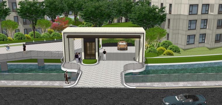 [浙江]新中式风格住宅区豪宅概念设计-北入口方案二效果图一