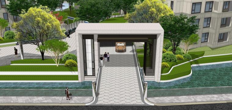 [浙江]新中式风格住宅区豪宅概念设计-北入口方案三效果图