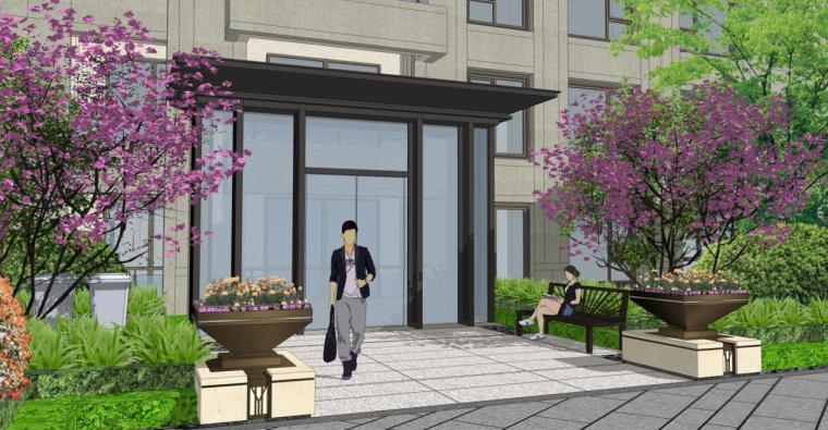[浙江]新中式风格住宅区豪宅概念设计-高层入户效果图