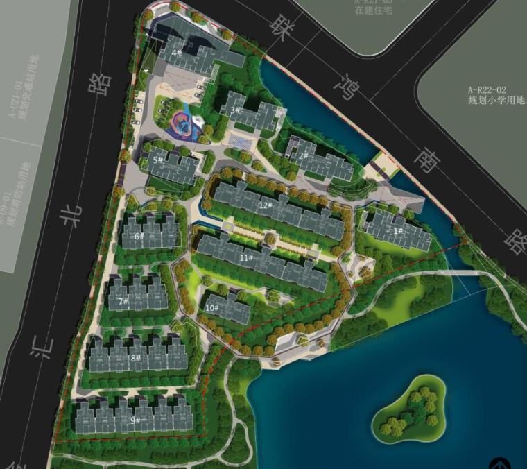 [浙江]新中式风格住宅区豪宅概念设计-景观总图