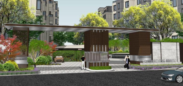 [浙江]新中式风格住宅区豪宅概念设计-西入口效果图