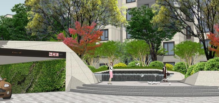 [浙江]新中式风格住宅区豪宅概念设计-西入口效果图一