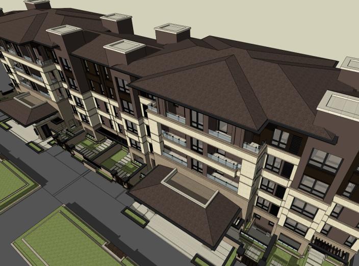 5层现代风格花园洋房建筑模型设计(水石)-洋房建筑SU模型3
