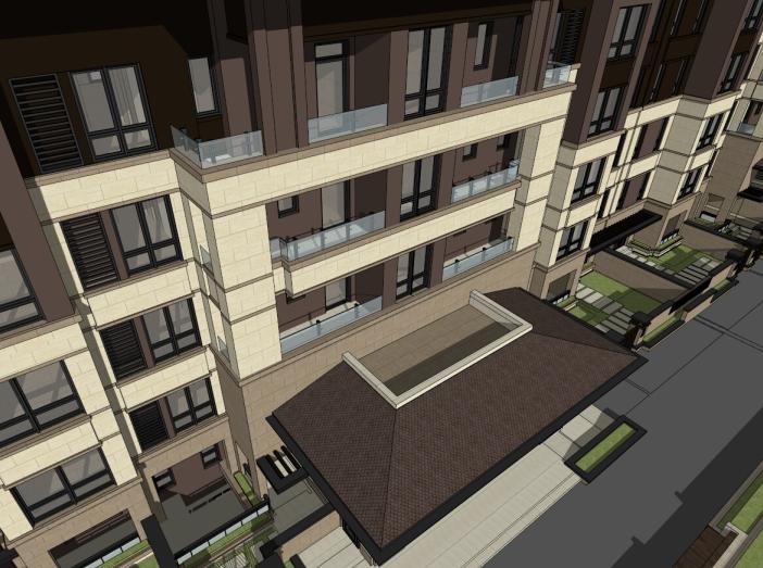 5层现代风格花园洋房建筑模型设计(水石)-洋房建筑SU模型5