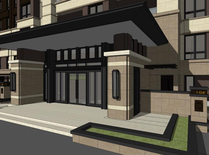 5层现代风格花园洋房建筑模型设计(水石)-洋房建筑SU模型4