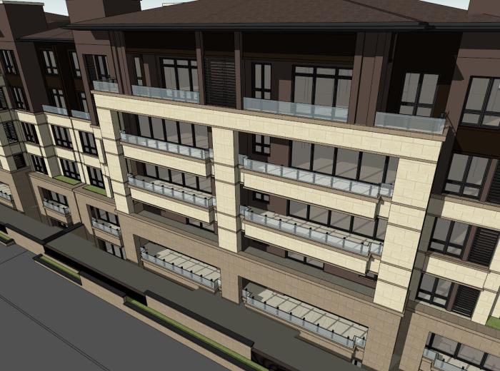 5层现代风格花园洋房建筑模型设计(水石)-洋房建筑SU模型6