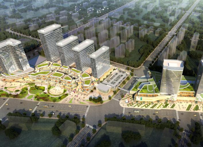 上海龙湖北城天街商业综合体建筑模型设计