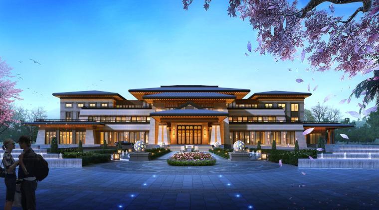 盘锦生态城会所建筑模型设计(中式风格)