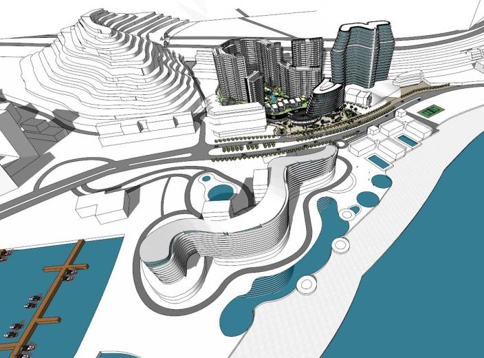 金地深圳大梅沙酒店建筑模型设计(水石)