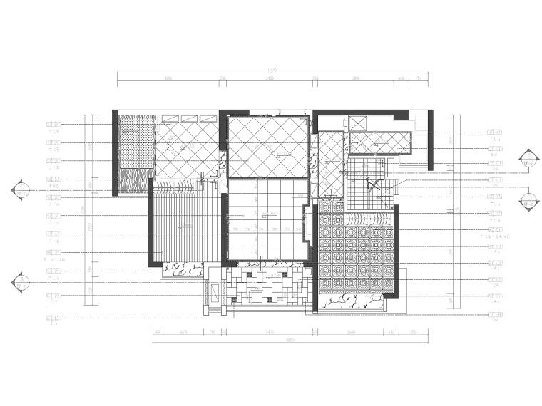 地知名地产风格三居室样板房室内装修全套施工图-地面材质图_看图王