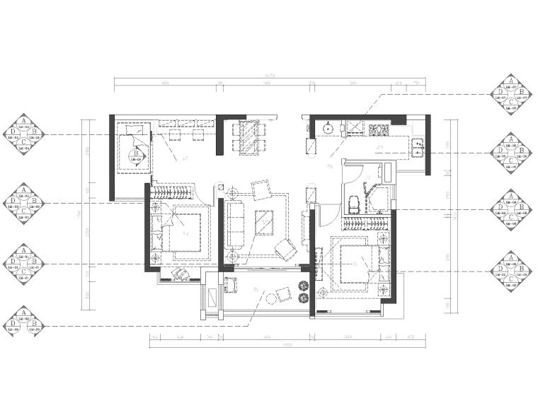 地知名地产风格三居室样板房室内装修全套施工图-立面索引图_看图王