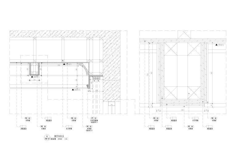 地知名地产风格三居室样板房室内装修全套施工图-天花剖面图_看图王