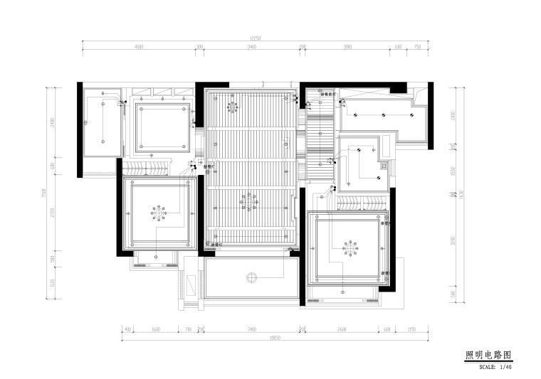 地知名地产风格三居室样板房室内装修全套施工图-照明电路图_看图王