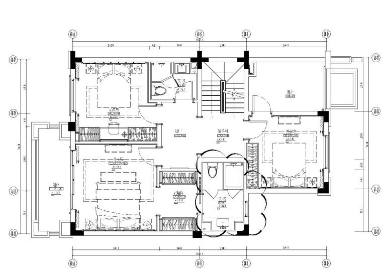 成都知名地产西子城335㎡四居室样板房施工图纸-二层平面布置图_看图王