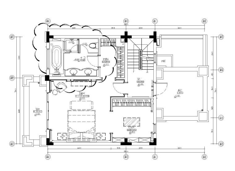 成都知名地产西子城335㎡四居室样板房施工图纸-三层平面布置图_看图王