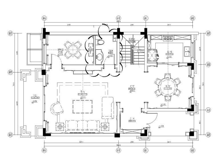 成都知名地产西子城335㎡四居室样板房施工图纸-一层平面布置图_看图王