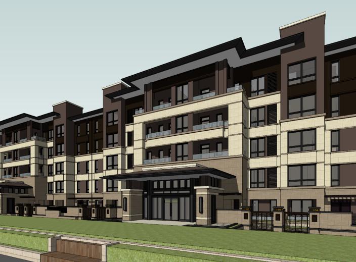 5层现代风格花园洋房建筑模型设计(水石)-洋房建筑SU模型2