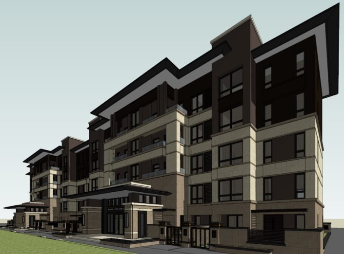 5层现代风格花园洋房建筑模型设计(水石)