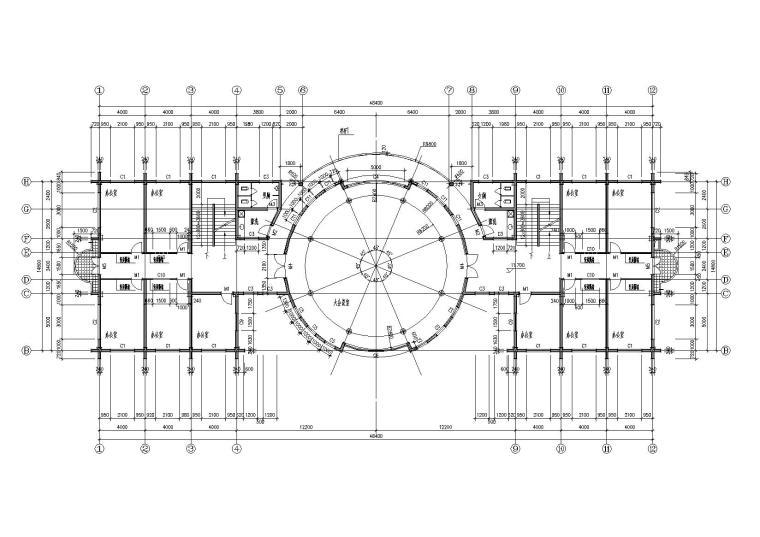 06圆形大厅多层会所侧四层平面图