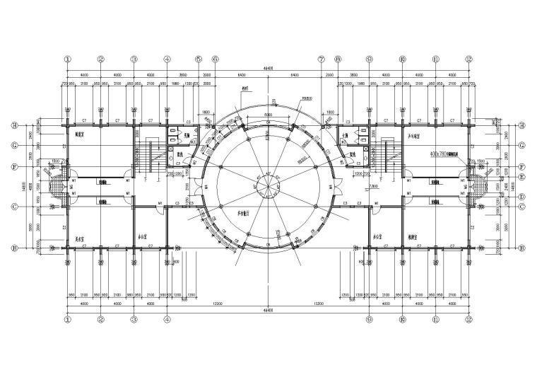 05圆形大厅多层会所侧三层平面图