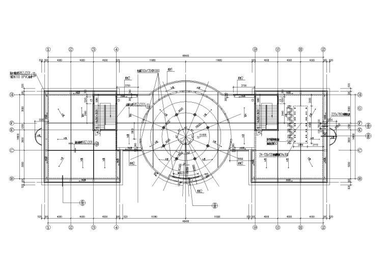 07圆形大厅多层会所侧屋顶平面图