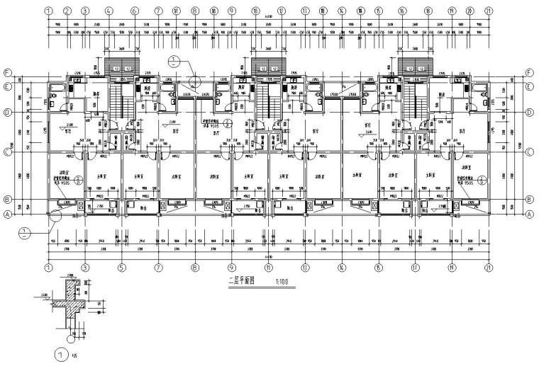 六层阁楼层框架结构三单元每单元2户户型图-二层平面图