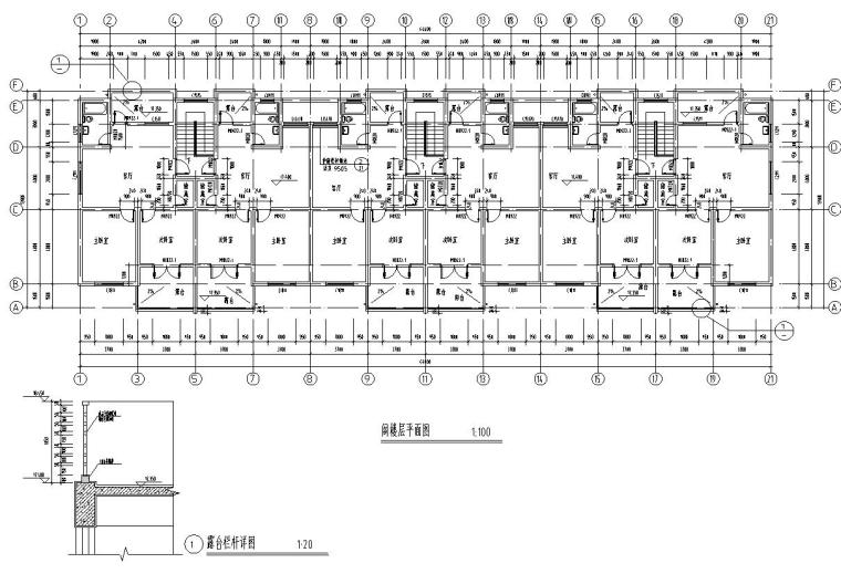 六层阁楼层框架结构三单元每单元2户户型图-阁楼层平面图