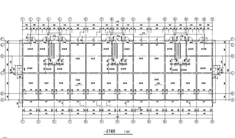 六层阁楼层框架结构三单元每单元2户户型图-01 一层平面图