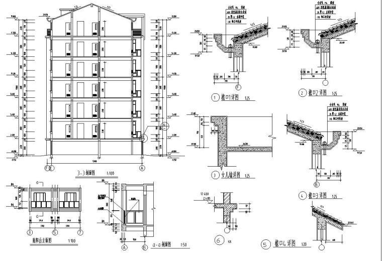 六层阁楼层框架结构三单元每单元2户户型图-节点详图