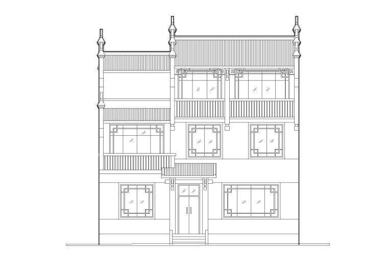 [湖南]湘西马头墙三层吊脚住宅楼建筑施工图