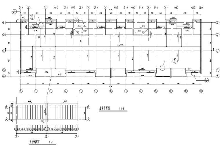 六层阁楼层框架结构三单元每单元2户户型图-屋顶平面图