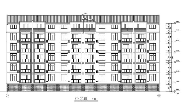 六层阁楼层框架结构三单元每单元2户户型图-立面图