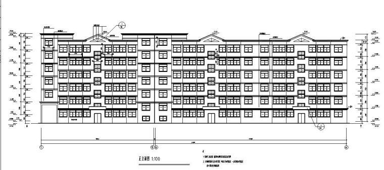 六层三单元两种户型节能住宅户型图设计-正立面图