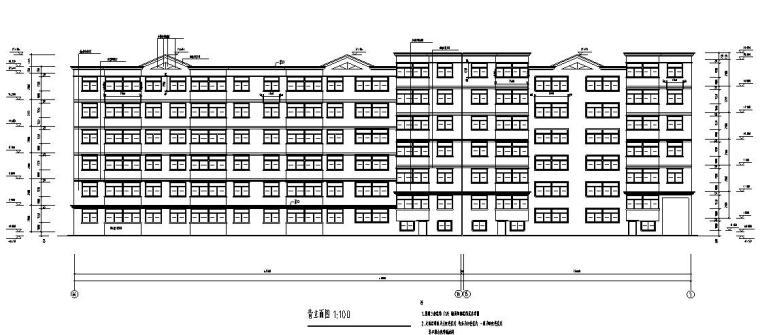 六层三单元两种户型节能住宅户型图设计-背立面图