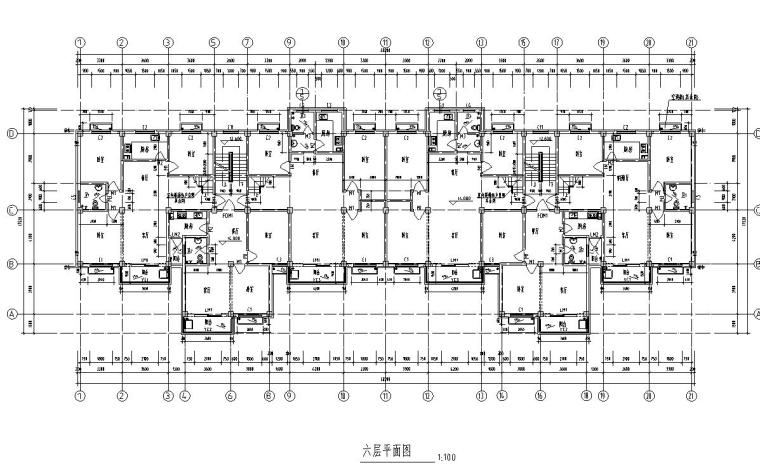 6层2单元每单元3户住宅楼设计图-六层平面图