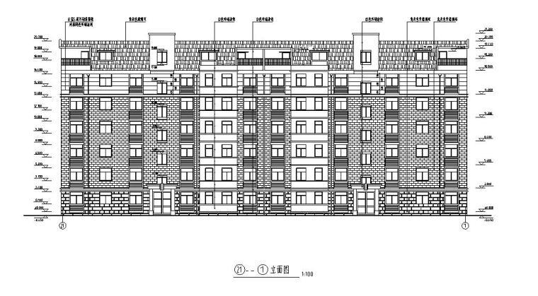 6层2单元每单元3户住宅楼设计图-立面图