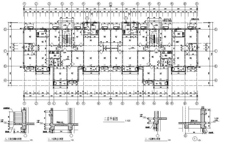 6层2单元每单元3户住宅楼设计图-二层平面图