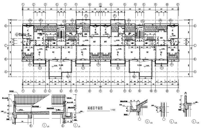 6层2单元每单元3户住宅楼设计图-阁层平面图