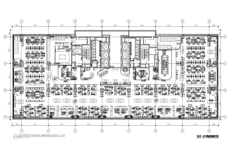 [上海]利丰广场办公室施工图+效果图+预算-5F平面布置图