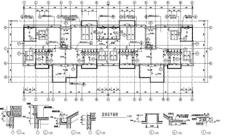 6层2单元每单元3户住宅楼设计图-屋顶平面图
