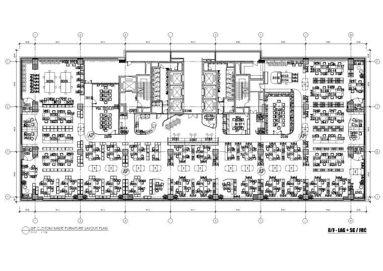 [上海]利丰广场办公室施工图+效果图+预算-8F平面布置图
