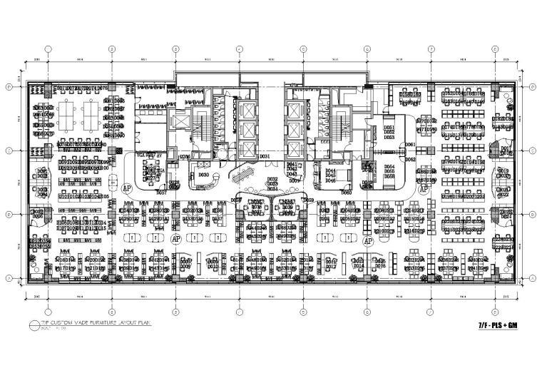 [上海]利丰广场办公室施工图+效果图+预算-7F平面布置图