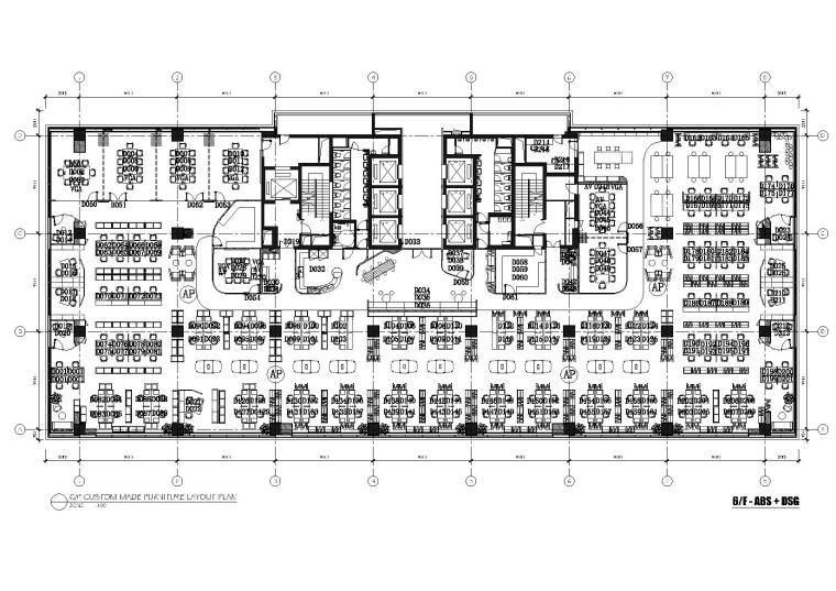 [上海]利丰广场办公室施工图+效果图+预算-6F平面布置图