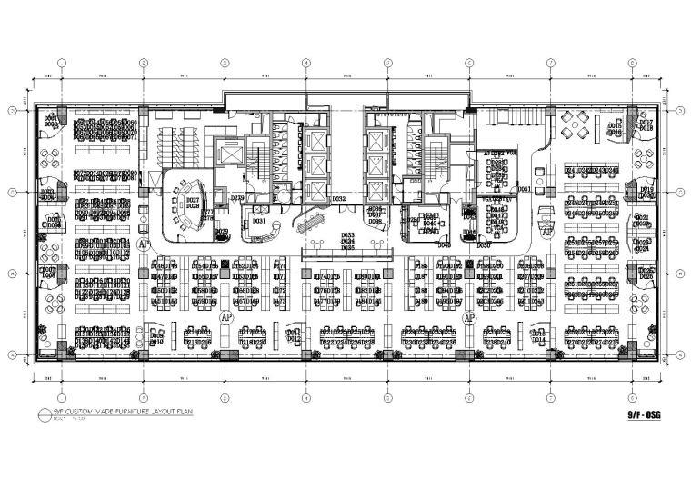 [上海]利丰广场办公室施工图+效果图+预算-9F平面布置图