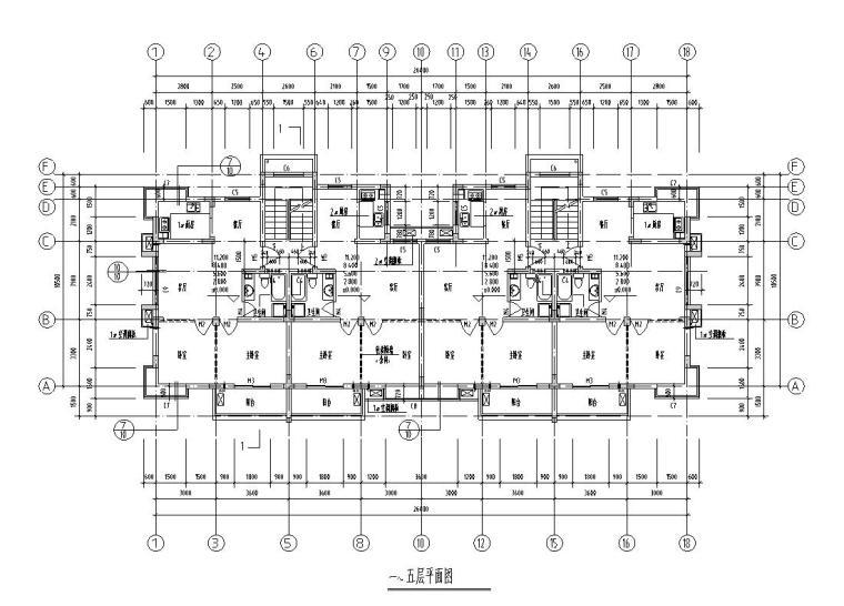六层二单元2户对称户型住宅设计图