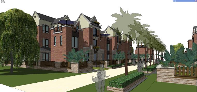 英式风格联排别墅建筑模型设计