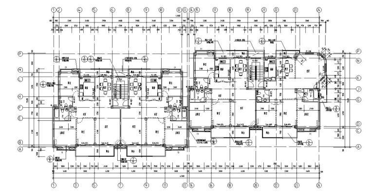 七层阁楼二单元对称户型设计图
