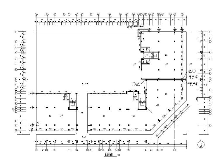 六层L型住宅三单元混合户型图设计-01 一层平面图