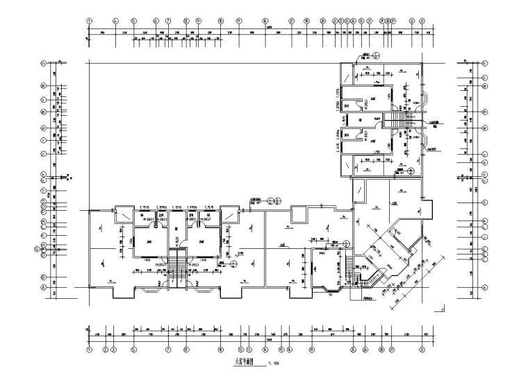 六层L型住宅三单元混合户型图设计-六层平面图